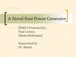 A Novel Foot Power Generator