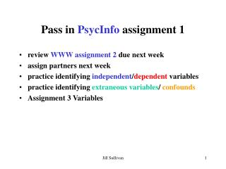 Pass in PsycInfo assignment 1