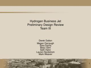 Hydrogen Business Jet Preliminary Design Review Team III