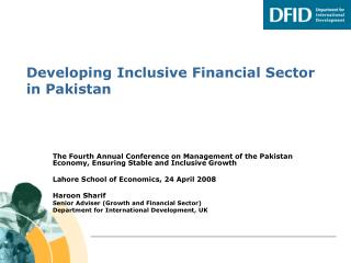 Developing Inclusive Financial Sector in Pakistan