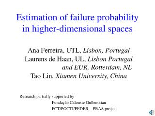 Estimation of failure probability in higher-dimensional spaces