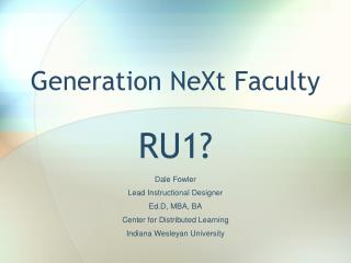 Generation NeXt Faculty