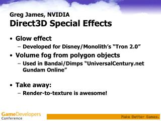 Greg James, NVIDIA Direct3D Special Effects