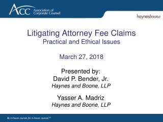 Attorney s Fees  Conflicts of Interest