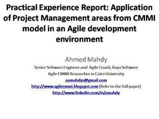Experience Rep: Agile CMMI Project Management areas