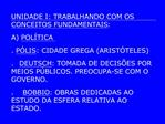 UNIDADE I: TRABALHANDO COM OS CONCEITOS FUNDAMENTAIS:   A POL TICA  . P LIS: CIDADE GREGA ARIST TELES  .  DEUTSCH: TOMAD
