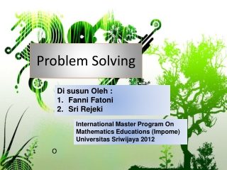 Solving a simpler, analogous problem