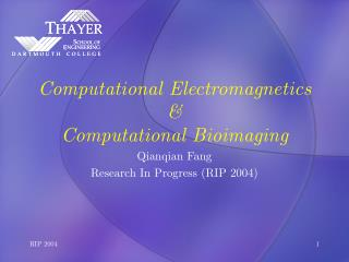 Computational Electromagnetics  Computational Bioimaging