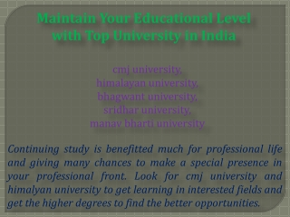 Maintain Your Educational Level with Top University in India
