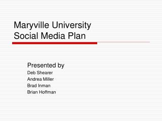 Maryville University Social Media Plan
