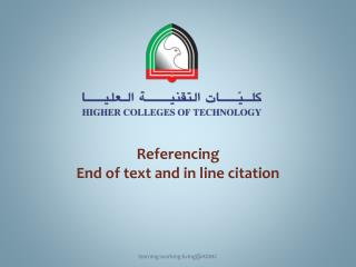 Referencing End of text and in line citation