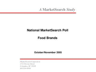 National MarketSearch Poll  Food Brands