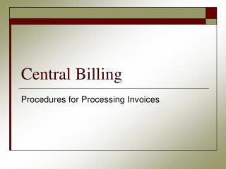 Central Billing