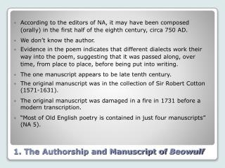 1. The Authorship and Manuscript of Beowulf