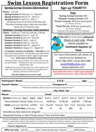 Swim Lesson Registration Form