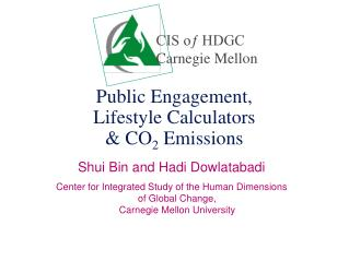Public Engagement,  Lifestyle Calculators   CO2 Emissions