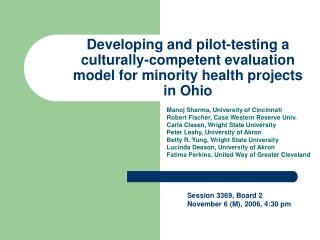 Developing and pilot-testing a culturally-competent evaluation model for minority health projects in Ohio