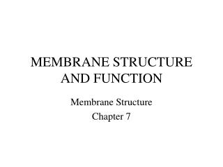 MEMBRANE STRUCTURE AND FUNCTION