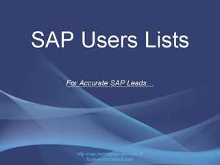 SAP Users Lists