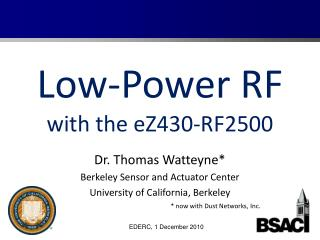 Low-Power RF with the eZ430-RF2500