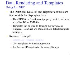 Data Rendering and Templates Using Asp