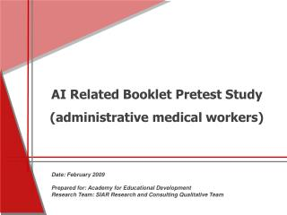 AI Related Booklet Pretest Study administrative medical workers