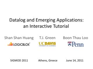 Datalog and Emerging Applications: an Interactive Tutorial
