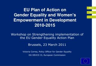 EU Plan of Action on  Gender Equality and Women s Empowerment in Development  2010-2015