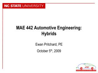 MAE 442 Automotive Engineering: Hybrids