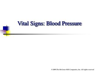 Vital Signs: Blood Pressure