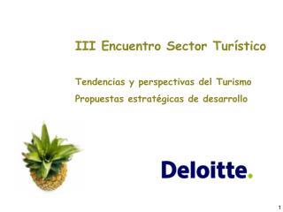 III Encuentro Sector Tur stico  Tendencias y perspectivas del Turismo Propuestas estrat gicas de desarrollo