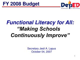 Functional Literacy for All:  Making Schools   Continuously Improve