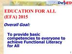 EDUCATION FOR ALL EFA 2015