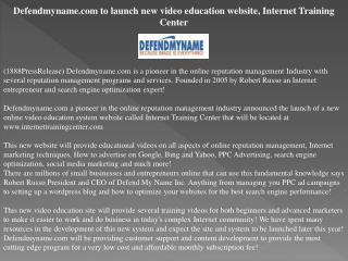 Defendmyname.com to launch new video education website