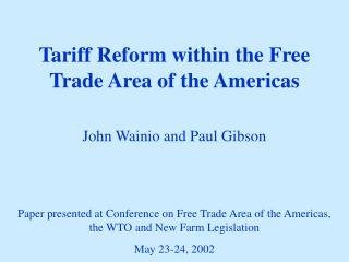 Tariff Reform within the Free Trade Area of the Americas