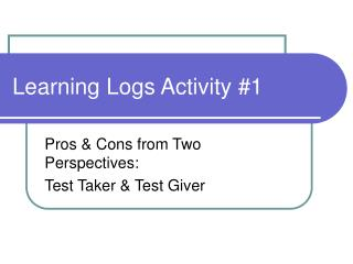 Learning Logs Activity 1