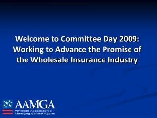 Welcome to Committee Day 2009: Working to Advance the Promise of the Wholesale Insurance Industry