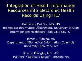 Integration of Health Information Resources into Electronic Health Records Using HL7