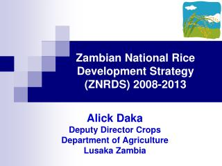 Zambian National Rice Development Strategy ZNRDS 2008-2013