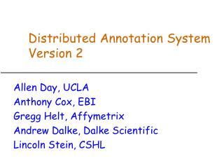 Distributed Annotation System Version 2