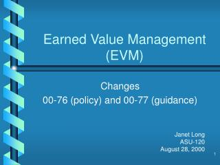 Earned Value Management EVM