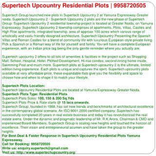 Supertech upcountry plots Greater Noida