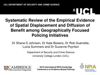 Systematic Review of the Empirical Evidence of Spatial Displacement and Diffusion of Benefit among Geographically Focuse