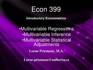 Econ 399 Introductory Econometrics
