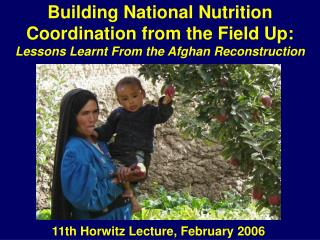Building National Nutrition Coordination from the Field Up:  Lessons Learnt From the Afghan Reconstruction