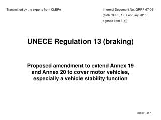 UNECE Regulation 13 braking