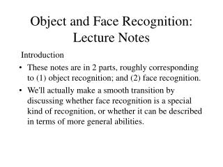 Object and Face Recognition: Lecture Notes