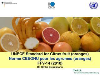 UNECE Standard for Citrus fruit oranges Norme CEEONU pour les agrumes oranges FFV-14 2010 Dr. Ulrike Bickelmann