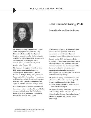 Ms. Summers-Ewing, a Senior Client Partner and Managing Director with Korn
