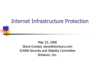 Internet Infrastructure Protection